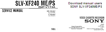 Инструкция по эксплуатации видеокассетный плеер SONY SLV-XF240ME, SONY SLV-XF240PS