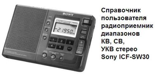 радиоприемник диапазонов КВ, СВ, УКВ стерео SONY ICF-SW30