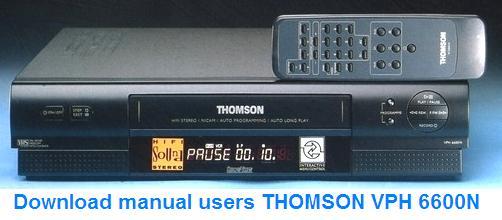 Инструкция по эксплуатации видеомагнитофон THOMSON VPH 6600N