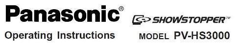 Руководство по эксплуатации Panasonic PV-HS3000 Showstopper hard disk recorder