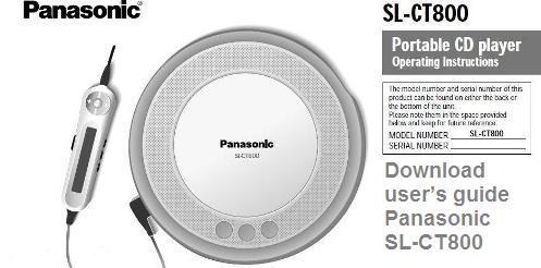 Инструкция по эксплуатации CD плеер Panasonic SL-CT800