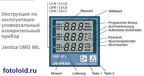 Инструкция по эксплуатации универсальный измерительный прибор Janitza UMG 96L